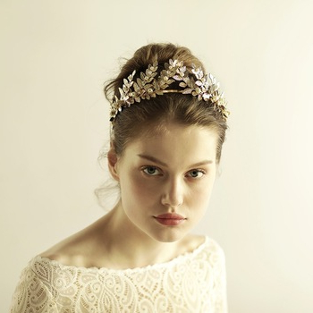 Wedding Bridal Rhinestone Golden Queen Headbands Tiara Headpiece In High Updos With Jeweled Headband For Brides (View 25 of 25)