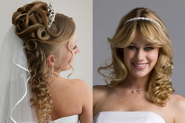 Wedding Bride Hair Styles With Long Curly Bridal Hairstyles With A Tiara (View 20 of 25)