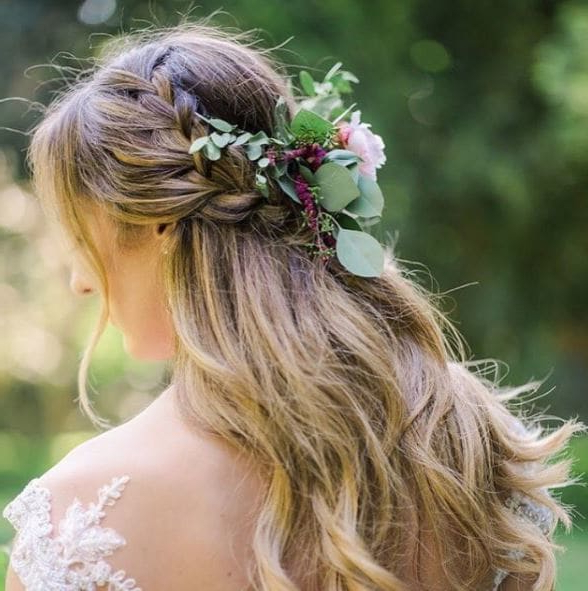 Wedding Hair Flowers: 9 Floral Looks For Your Big Day | All Things For Double Braid Bridal Hairstyles With Fresh Flowers (View 18 of 25)