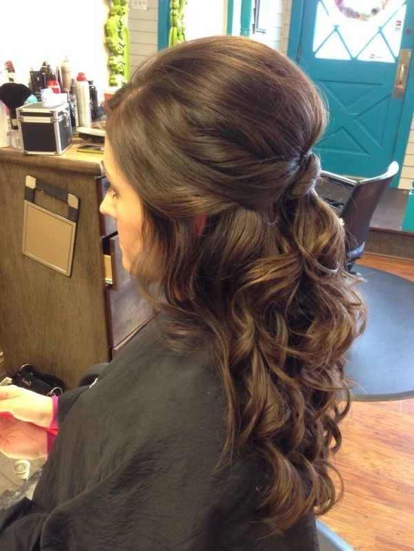 Wedding Hair – Half Up, Curly, Brunette, Twist #wedding #hair Within Twists And Curls In Bridal Half Up Bridal Hairstyles (View 2 of 25)