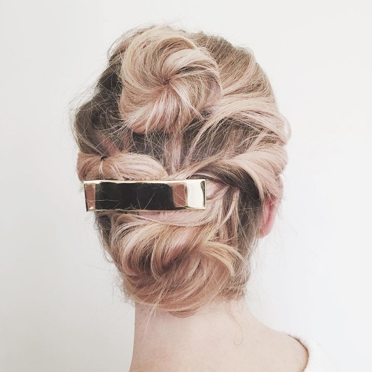 Wedding Hair: Short Hair Updo With Barrette | Brides With Regard To Sleek Bridal Hairstyles With Floral Barrette (View 19 of 25)