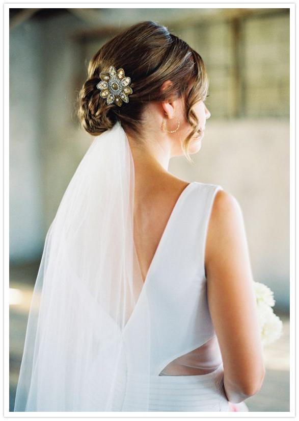 Wedding Hair Style: Low Bun + Veil Underneath + Clip + Side Ringlets Regarding Sleek Low Bun Rosy Outlook Wedding Updos (View 9 of 25)