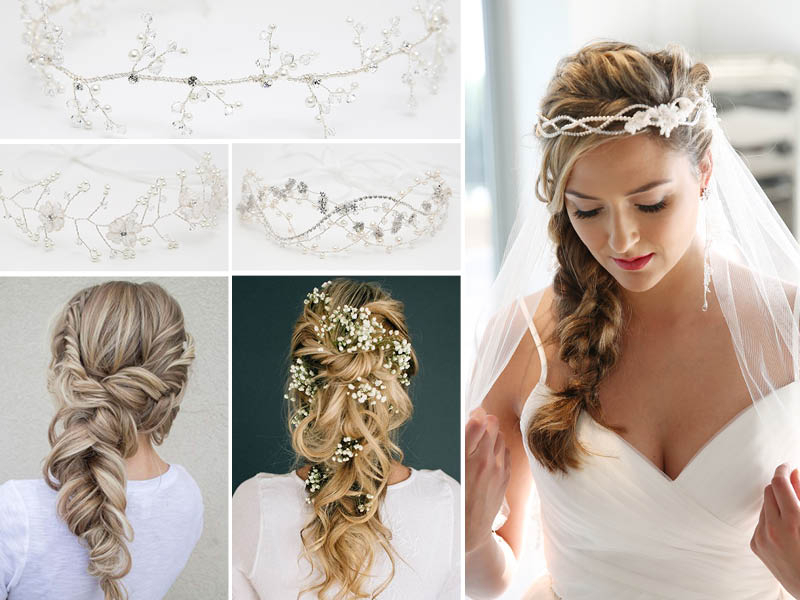 Wedding Hair Styles For Vines – For Long Hair – Richard Designs Inside Side Curls Bridal Hairstyles With Tiara And Lace Veil (View 14 of 25)