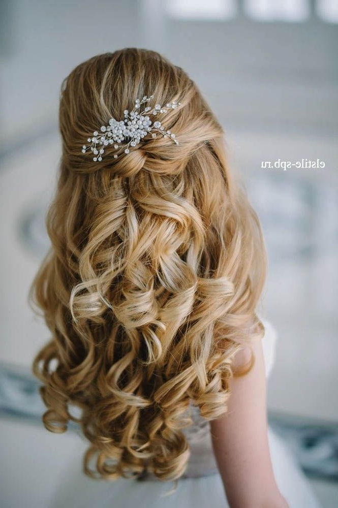 Wedding Hairstyles : 20 Half Up Half Down Wedding Hairstyles | Roses Throughout Half Up Blonde Ombre Curls Bridal Hairstyles (View 14 of 25)