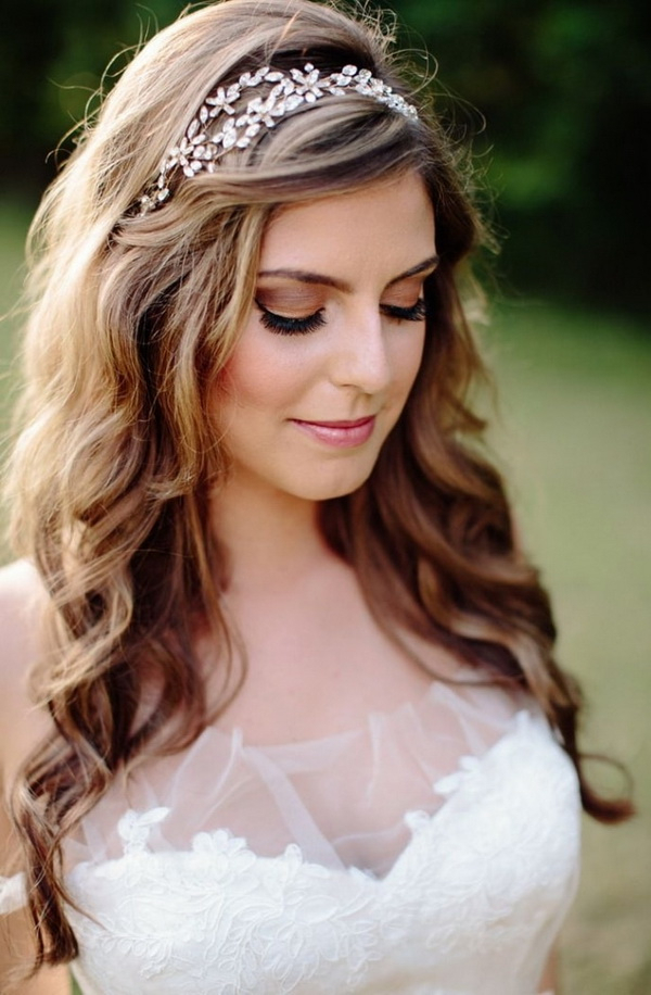 Wedding Hairstyles Down: 15 Romantic And Swoon Worthy – Elasdress In Soft Wedding Updos With Headband (View 22 of 25)