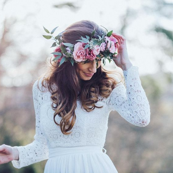 Wedding Hairstyles For Every Hair Type   A Practical Wedding Inside Floral Crown Half Up Half Down Bridal Hairstyles (View 19 of 25)