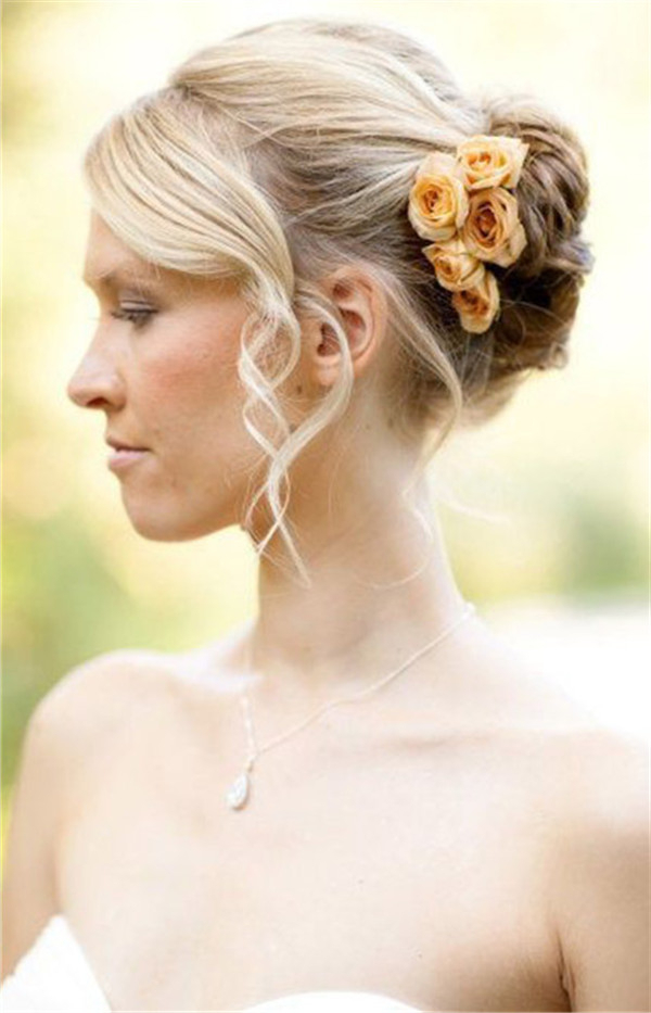 Wedding Hairstyles For Short Hair Bun And Curls | Weddinginclude With Curly Bun Bridal Updos For Shorter Hair (View 8 of 25)