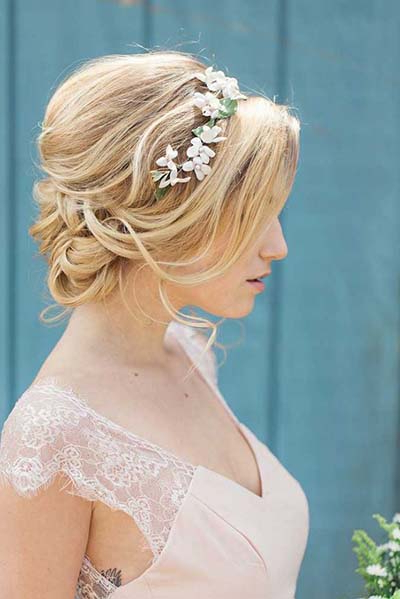Wedding Hairstyles For Short Hair | Chapel Of The Flowers Blog Inside Messy Bun Wedding Hairstyles For Shorter Hair (View 2 of 25)