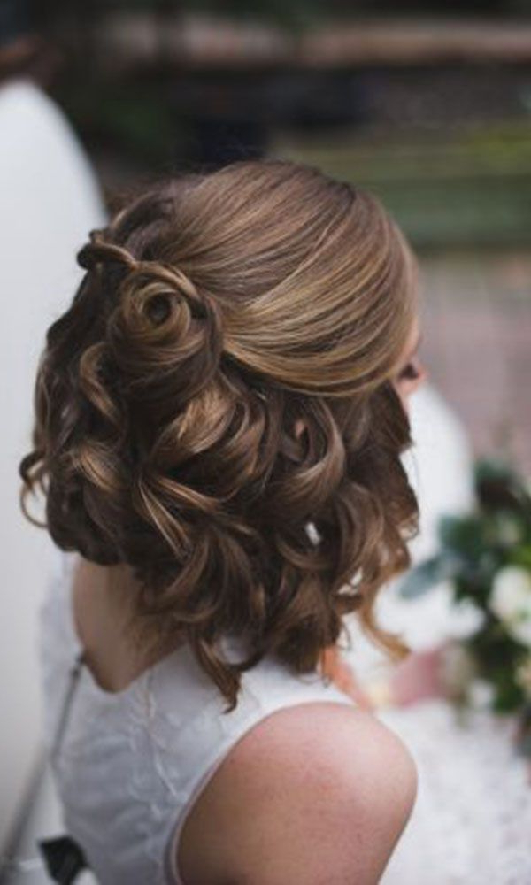 Wedding Hairstyles For Short Hair Half Up Half Down | Wedding Ideas Regarding Medium Half Up Half Down Bridal Hairstyles With Fancy Knots (View 15 of 25)