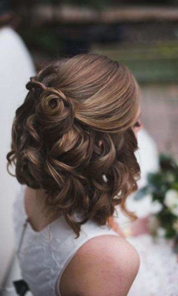 Wedding Hairstyles For Short Hair Half Up Half Down | Wedding Ideas Throughout Dimensional Waves In Half Up Wedding Hairstyles (View 13 of 25)