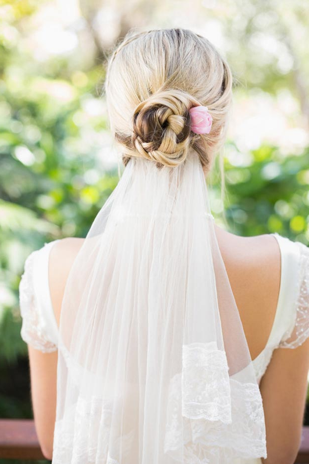 Photo Gallery Of Bridal Chignon Hairstyles With Headband And Veil