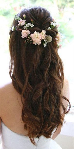 Wedding Hairstyles | Long Hair | Curly | With Flower Crown | Twist Pertaining To Twists And Curls In Bridal Half Up Bridal Hairstyles (View 8 of 25)