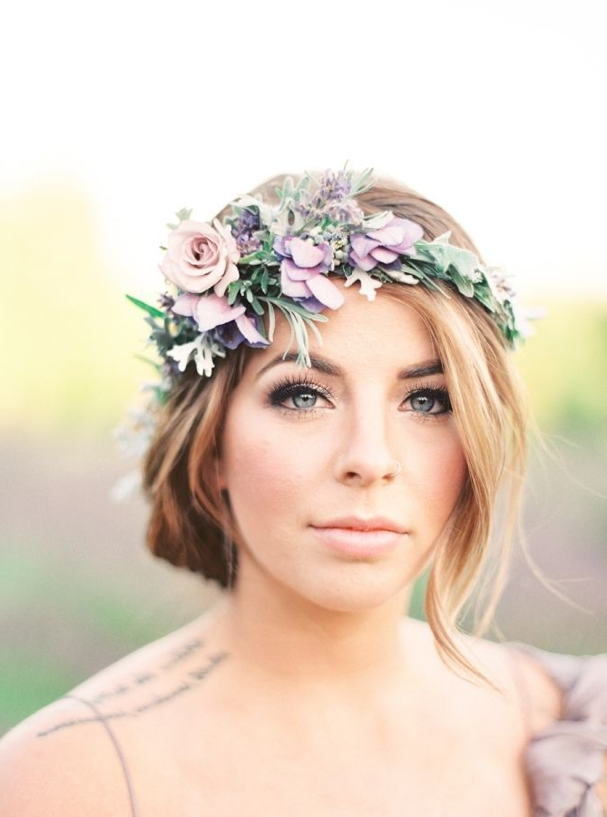Wedding Hairstyles : Pretty Lavender Floral Crown: Www (View 3 of 25)