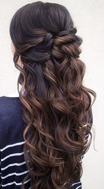 Wedding Hairstyles | Sara Prom Hair | Pinterest | Prom Hair, Hair Inside Half Up Curly Hairstyles With Highlights (View 3 of 25)