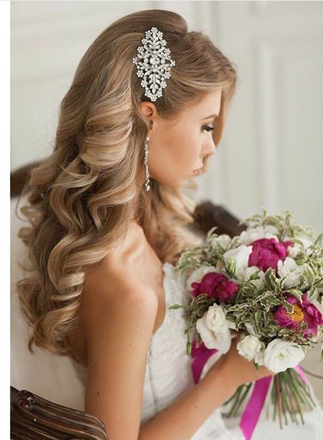 Wedding Hairstyles That Are Right On Trend   Hairstyles   Pinterest Pertaining To Accessorized Undone Waves Bridal Hairstyles (View 8 of 25)