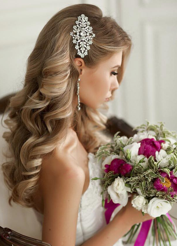 Wedding Hairstyles That Are Right On Trend | Lookin' Good | Wedding Regarding Large Curly Bun Bridal Hairstyles With Beaded Clip (View 15 of 25)