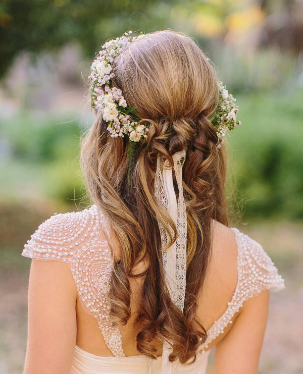 Wedding Hairstyles | Tulle & Chantilly Wedding Blog Intended For Bohemian Curls Bridal Hairstyles With Floral Clip (View 17 of 25)