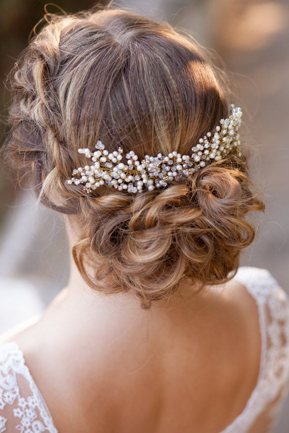 Wedding Hairstyles : Wedding Hair Comb Pearl Bridal Comb Bridal Intended For Pearls Bridal Hairstyles (View 8 of 25)