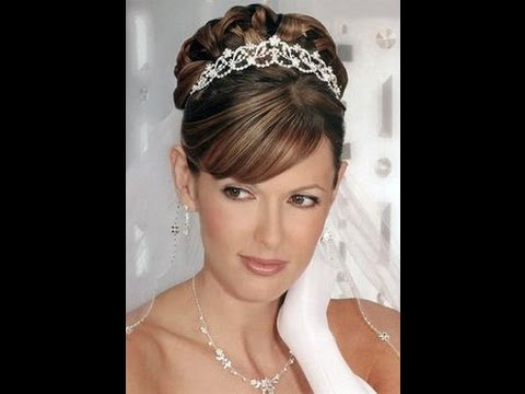 Wedding Hairstyles With Tiara – Youtube Inside Classic Bridal Hairstyles With Veil And Tiara (View 6 of 25)