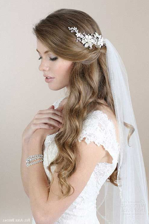 Wedding Hairstyles With Veil … | Wedding Dreams | Pinte… Intended For Pulled Back Layers Bridal Hairstyles With Headband (View 4 of 25)