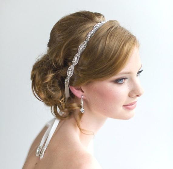 Wedding Headpiece Bridal Beaded Headband Bridal Rhinestone | Etsy Pertaining To High Updos With Jeweled Headband For Brides (View 8 of 25)