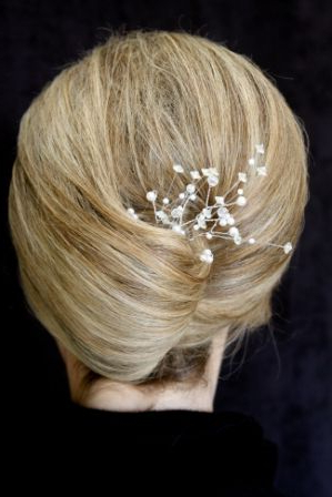 Wedding Updo– Classic French Twist With Baby's Breath | Wedding Regarding French Twist Wedding Updos With Babys Breath (View 7 of 25)