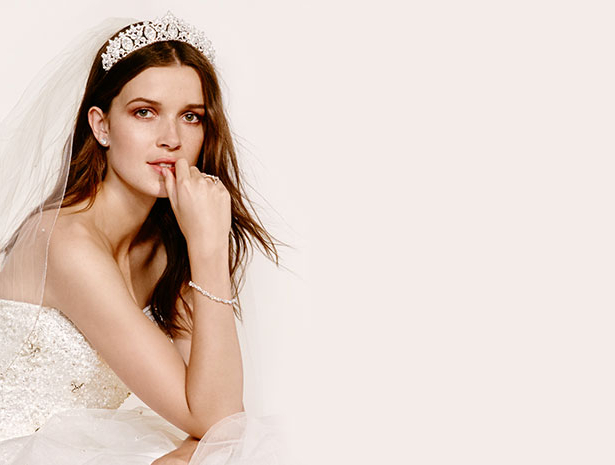 Wedding Veil Styles: Bridal Headpieces, Tiaras & Veils | David's Bridal Intended For Classic Bridal Hairstyles With Veil And Tiara (View 18 of 25)