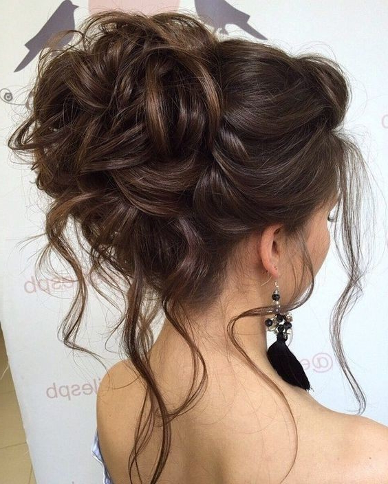 10 Beautiful Updo Hairstyles For Weddings 2019 Inside Messy High Bun Prom Updos (View 8 of 25)