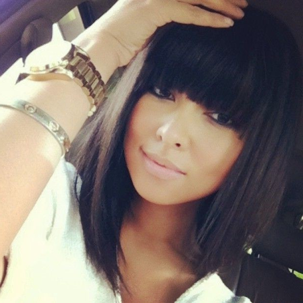 10 New Black Hairstyles With Bangs – Popular Haircuts Pertaining To Long Bob Hairstyles With Bangs Weave (View 22 of 25)