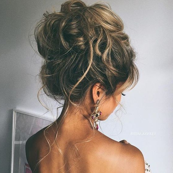 10 Pretty Messy Updos For Long Hair: Updo Hairstyles 2019 In Messy High Bun Prom Updos (View 3 of 25)