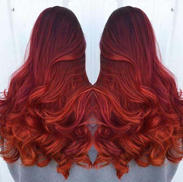 100 Badass Red Hair Colors: Auburn, Cherry, Copper, Burgundy Hair With Long Hairstyles Red Highlights (View 22 of 25)