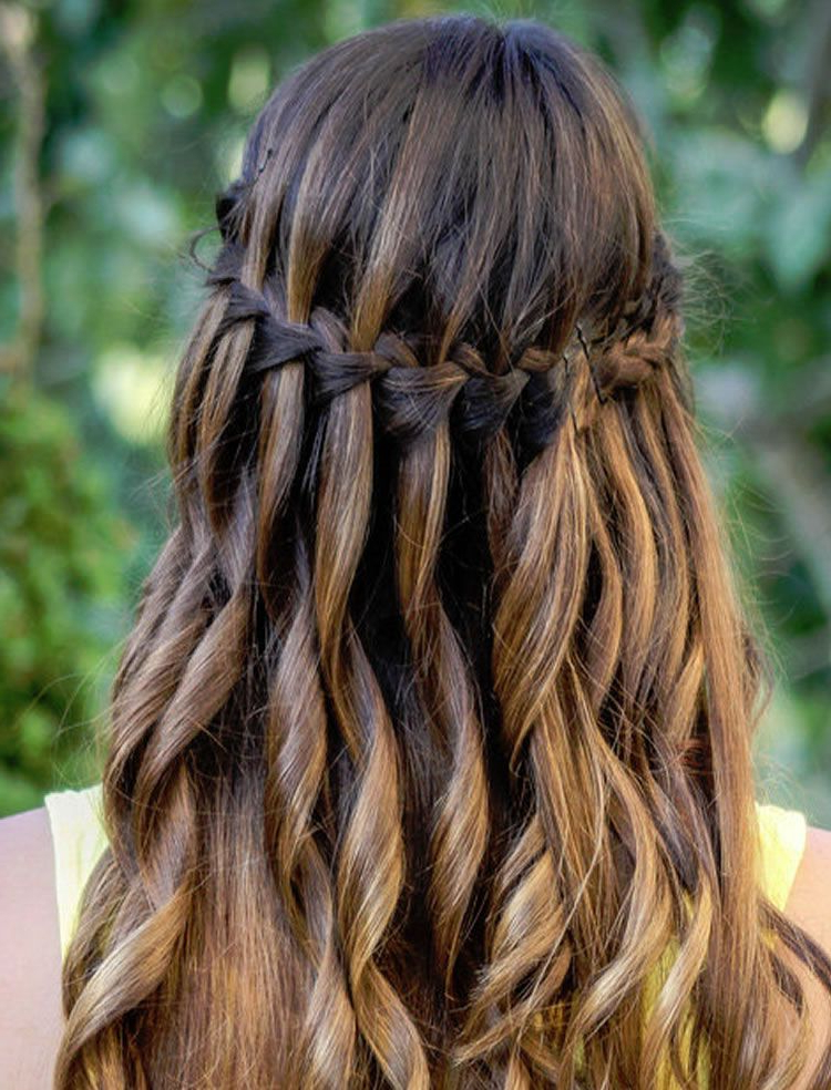 100 Chic Waterfall Braid Hairstyles – How To Stepstep Images And Within Chic Waterfall Braid Prom Updos (View 3 of 25)