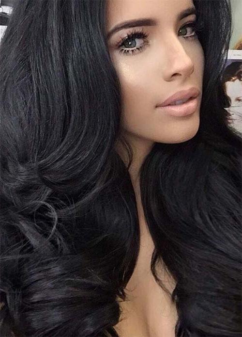 100 Dark Hair Colors: Black, Brown, Red, Dark Blonde Shades Pertaining To Long Hairstyles For Dark Hair (View 25 of 25)