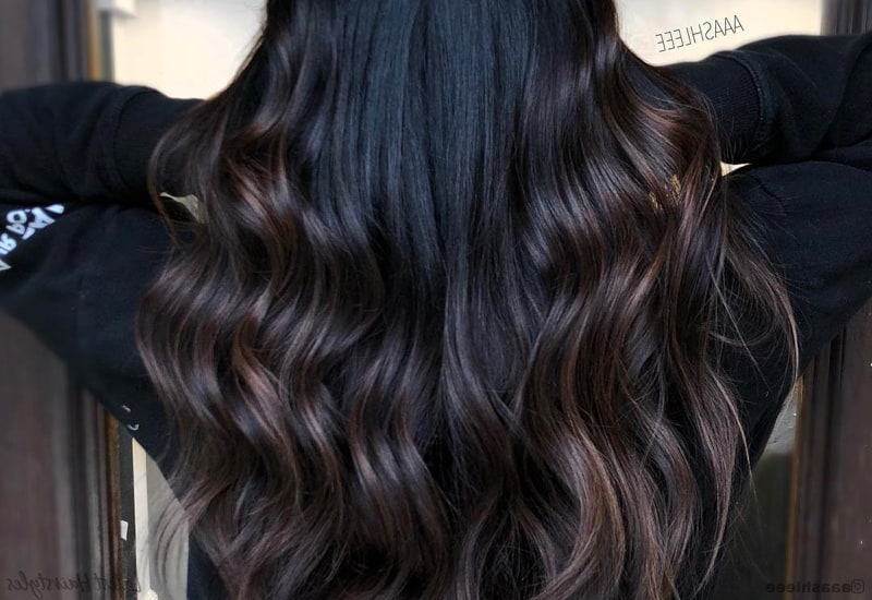 14 Balayage On Black Hair Ideas Trending In 2019 Within Long Thick Black Hairstyles With Light Brown Balayage (View 24 of 25)