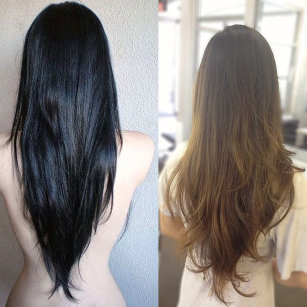 14 High Fashion Haircuts For Long Straight Hair – Popular Haircuts Regarding Long Hairstyles V In Back (View 8 of 25)