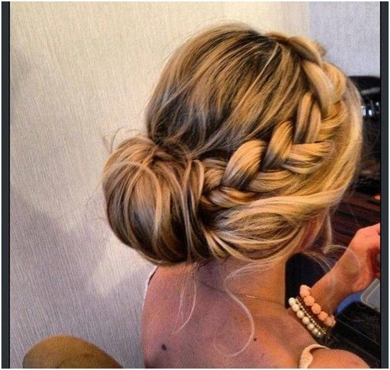 15 Braided Bun Updos Ideas | Cosmetology | Bridesmaid Hair, Hair Within Braided Chignon Prom Hairstyles (View 2 of 25)