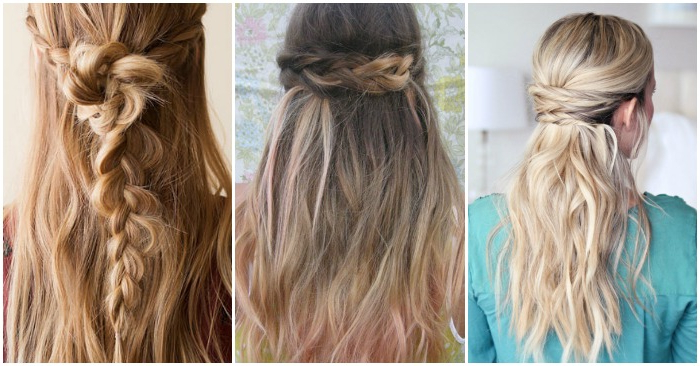 15 Casual & Simple Hairstyles That Are Half Up, Half Down Regarding Long Hairstyles Half Pulled Back (View 10 of 25)