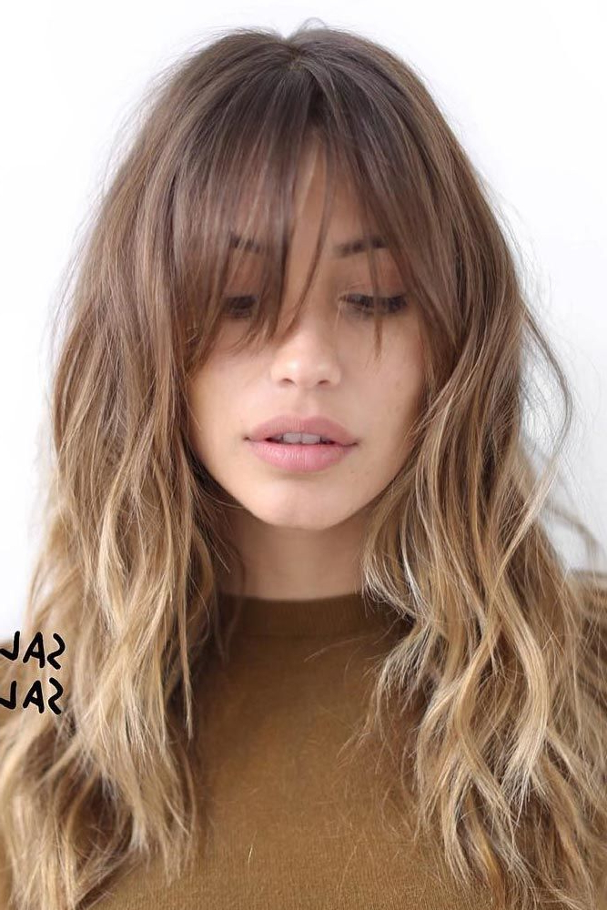 15 Gorgeous Haircuts For Long Faces | Bangs | Cabello Con Flequillo In Long Hairstyles With A Fringe (View 20 of 25)