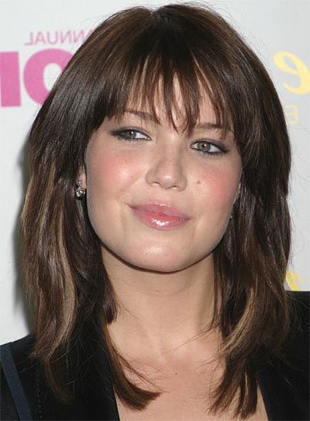 15+ Modern Medium Length Haircuts With Bangs, Layers For Thick Hair Throughout Long Hairstyles For Round Faces With Bangs (View 21 of 25)