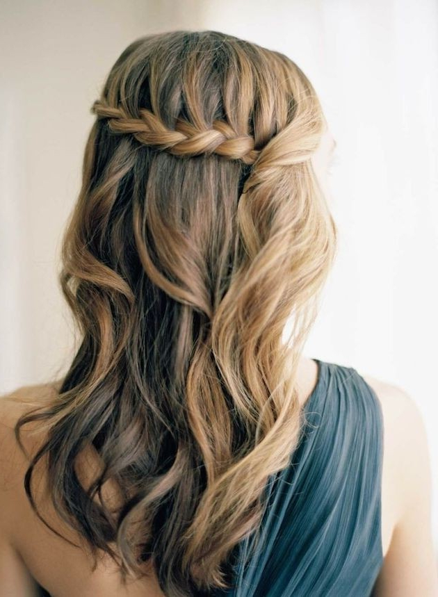 15 Pretty Prom Hairstyles 2019: Boho, Retro, Edgy Hair Styles In Chic Waterfall Braid Prom Updos (View 10 of 25)