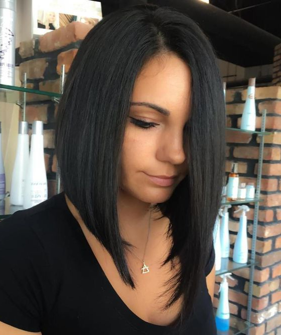 15 Trendy Asymmetrical Bob Haircuts – Styleoholic Within Long Black Bob Haircuts (View 11 of 25)