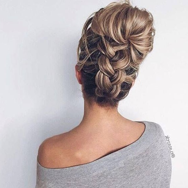 154 Updos For Long Hair Featuring Beautiful Braids And Buns Inside Upside Down Braid And Bun Prom Hairstyles (View 6 of 25)