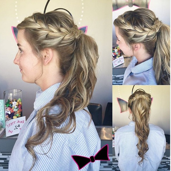 18 Cute Braided Ponytail Styles – Popular Haircuts Intended For Textured Side Braid And Ponytail Prom Hairstyles (View 4 of 25)