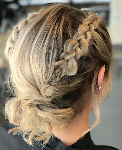 18 Gorgeous Prom Hairstyles For Short Hair For 2019 Within Double Braided Prom Updos (View 8 of 25)