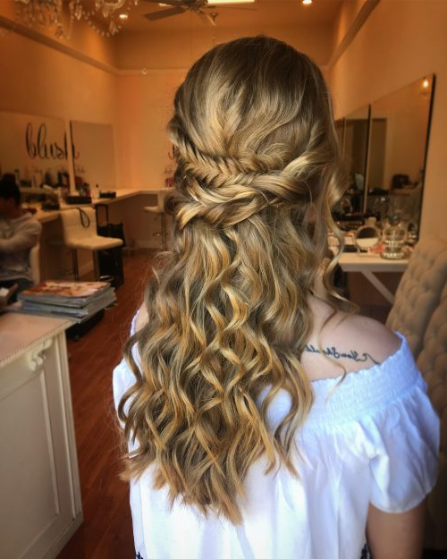 18 Stunning Curly Prom Hairstyles For 2019 – Updos, Down Do's & Braids! In Braid And Fluffy Bun Prom Hairstyles (View 13 of 25)
