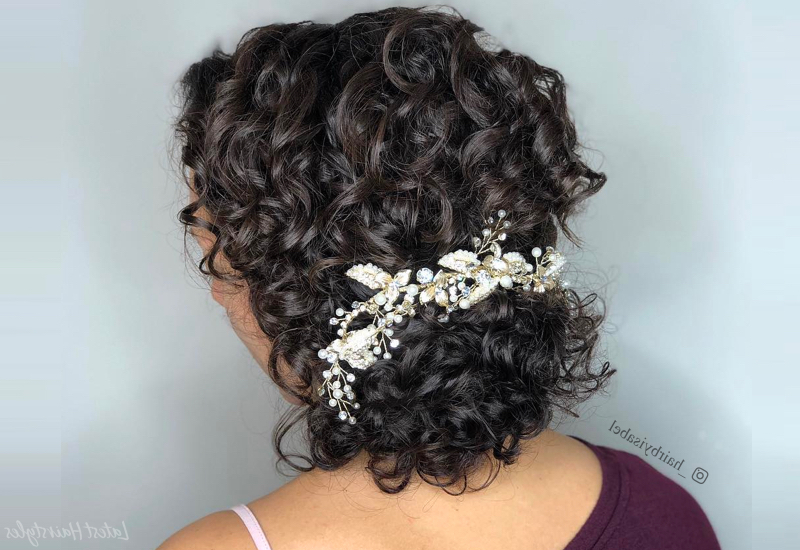 18 Stunning Curly Prom Hairstyles For 2019 – Updos, Down Do's & Braids! Intended For Braid And Fluffy Bun Prom Hairstyles (View 21 of 25)