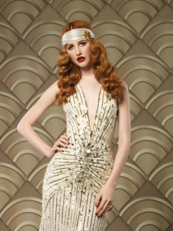 1920S Hairstyles For Long Hair Christmas With Vintage Headband Intended For Long Hairstyles Of The 1920S (View 23 of 25)
