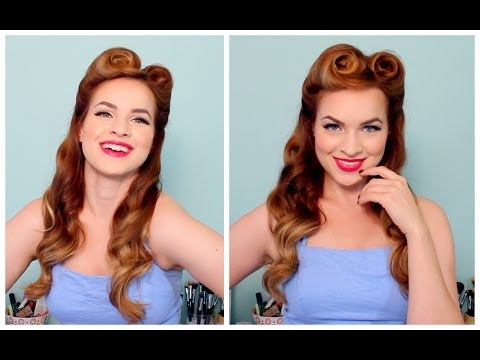1940's / 50's Pinup Hair And Makeup – Youtube With Regard To Fifties Long Hairstyles (View 13 of 25)