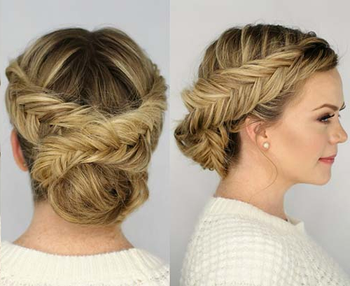 20 Exquisite Prom Updos For Long Hair Regarding Fishtailed Snail Bun Prom Hairstyles (View 8 of 25)