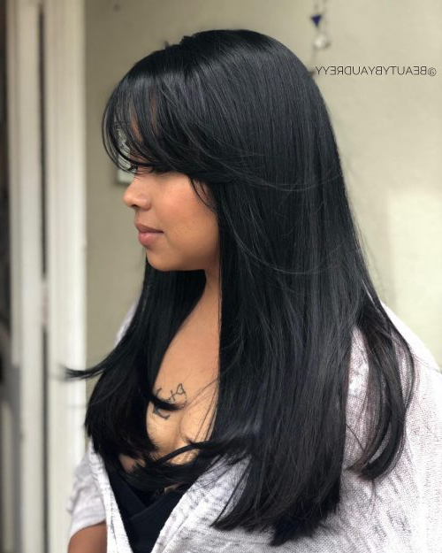 20 Flattering Side Bangs Hairstyles Trending In 2019 In Long Hairstyles With Angled Swoopy Pieces (View 14 of 25)